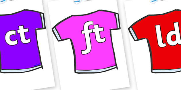 Final Letter Blends on T-Shirts - Final Letters, final letter, letter blend, letter blends, consonant, consonants, digraph, trigraph, literacy, alphabet, letters, foundation stage literacy