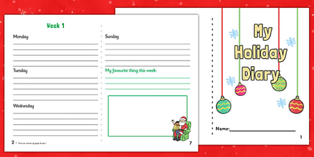 My Two Week Christmas Holiday Booklet - christmas, two week, holiday, booklet