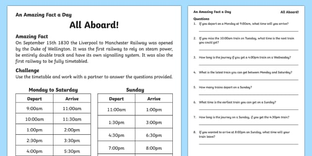 All Aboard Activity Sheet, worksheet