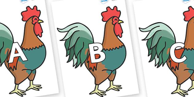 A-Z Alphabet on Cockerels - A-Z, A4, display, Alphabet frieze, Display letters, Letter posters, A-Z letters, Alphabet flashcards