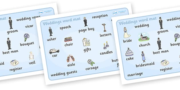 Wedding Word Mat - Wedding, word mat, writing aid, weddings, marriage, bride, groom, church, priest, vicar, dress, cake, ring, rings, bridesmaid, flowers, bouquet, reception, love