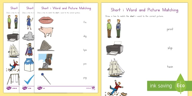 Short i Word and Picture Matching Differentiated Activity Sheets