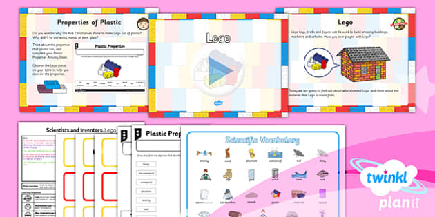 PlanIt - Science Year 1 - Scientists and Inventors Lesson 1: Lego Lesson Pack - materials, plastic, properties, inventions, building, construction