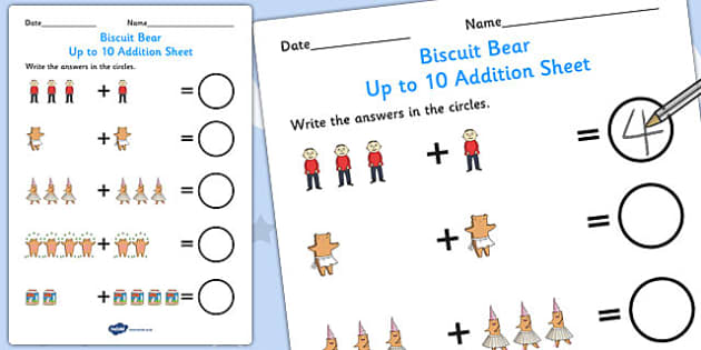 Up to 10 Addition Sheet to Support Teaching on Biscuit Bear - Biscuit, Bear, Story, Colour