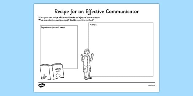 Recipe for an Effective Communicator Activity Sheet, worksheet