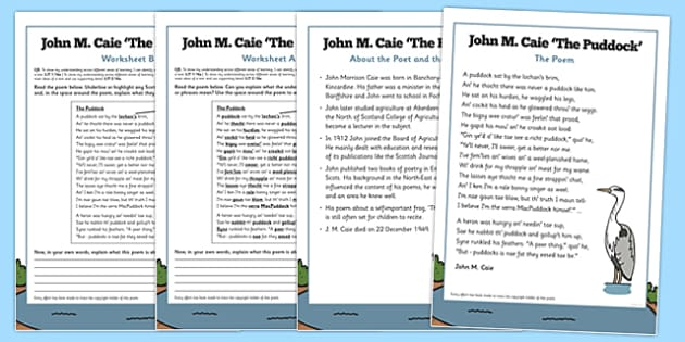 Scots Poetry John M Caie 'The Puddock' - cfe, curriculum for excellence, poetry