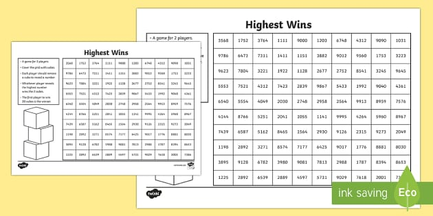 Highest Wins Game - CfE Numeracy and Mathematics, number, place value, higher, lower,Scottish