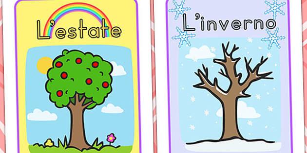 Italian Seasons Display Posters - italian, italy, season, weather