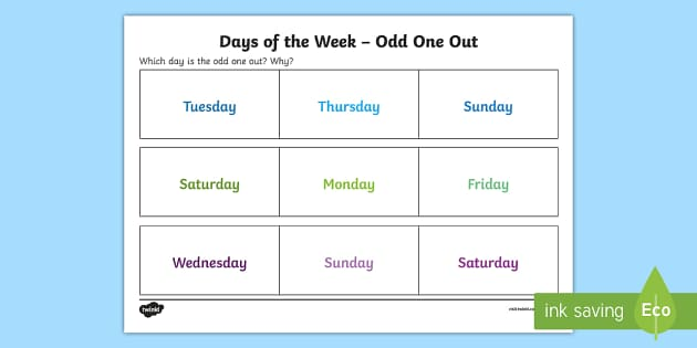 Days of the Week Odd One Out Activity Sheet - Odd One Out, days of the week, worksheet, reasoning