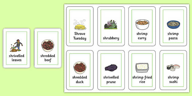 Three Syllable SHR Playing Cards -speech sounds, phonology, articulation, speech therapy, cluster reduction