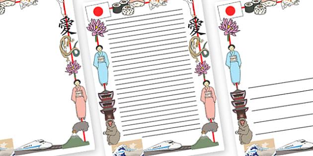 Japanese Page Border - Japanese Page Borders, Japan, Kimono, sushi, japanese, flag, symbol, pagoda, koi carp, lotus, bullet train, cherry blossom, volcano, karate, islands