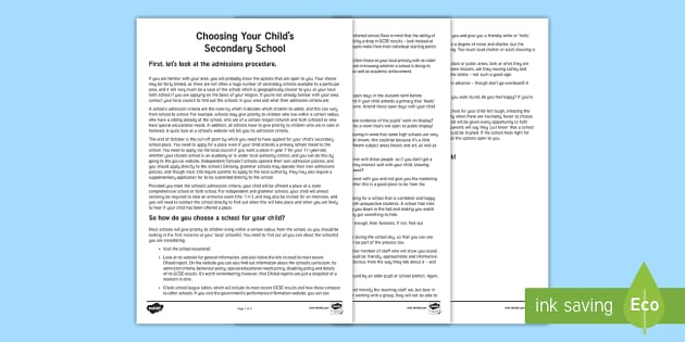 Choosing Your Child's Secondary School Parent and Carer Information Sheet - parents, advice, schools, secondary, school visits, high school, grammar school
