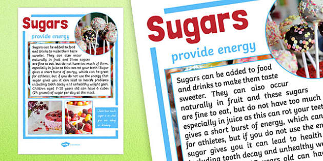 Year 6 Sugars Nutrients Display Poster