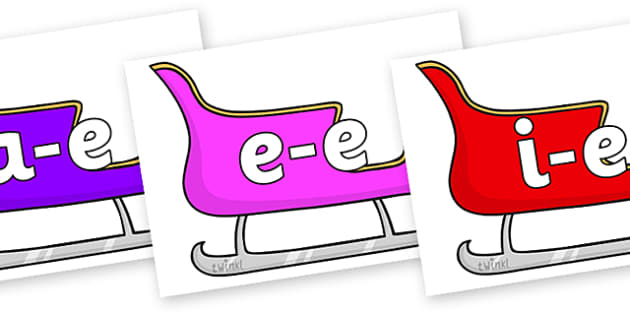 Modifying E Letters on Sleighs (Multicolour) - Modifying E, letters, modify, Phase 5, Phase five, alternative spellings for phonemes, DfES letters and Sounds