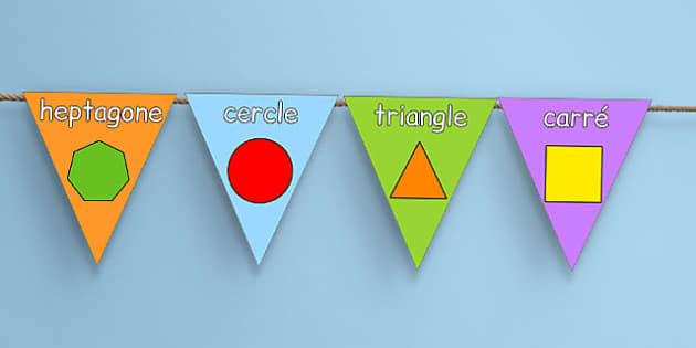 2D Shape Display Bunting French - french, 2d shape, display bunting, display, bunting
