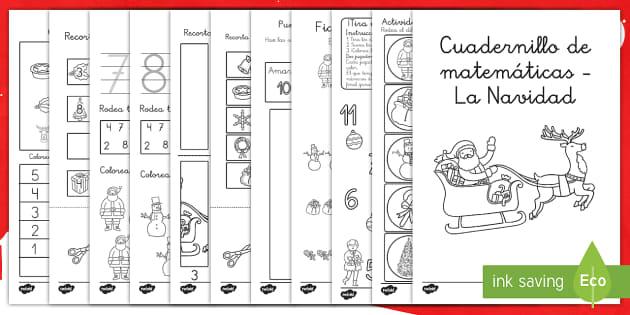 Cuadernillo de matemáticas: La Navidad - números, navidad, pasatiempo, navideño, mates - números, navidad, pasatiempo, navideño, mates
