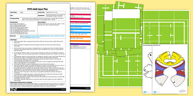 Rugby Bee-Bot Activity EYFS Adult Input Plan and Resource Pack - rugby, bee-bot, beebot, bee bot