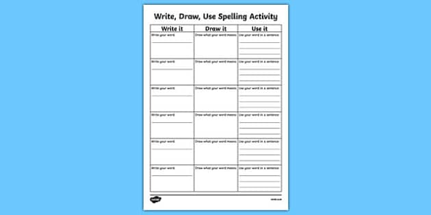 Write it, Draw it, Use it Spelling Activity Sheet, worksheet