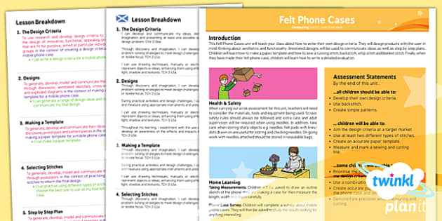 PlanIt - DT UKS2 - Felt Phone Cases Planning Overview CfE - planit, design, technology, overview, cfe