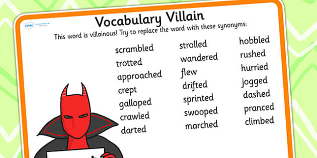 Vocabulary Villain Went Word Mat - went, word mat, topic words, key words, word list, keyword, words, key word mat, themed word mat, themed word list