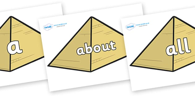 100 High Frequency Words on Pyramids - High frequency words, hfw, DfES Letters and Sounds, Letters and Sounds, display words