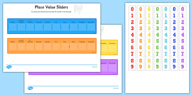 Place Value Maths Sliders Including T H Th M - ks2, maths, numeracy, place, value, digit, tens, hundreds, thousands, millions, slide,