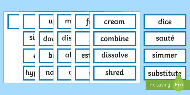 Stage 3  Procedure Language of Instruction Word Cards-Australia