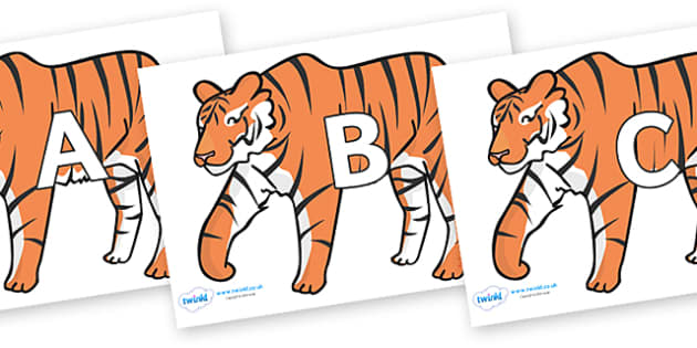 A-Z Alphabet on Tigers - A-Z, A4, display, Alphabet frieze, Display letters, Letter posters, A-Z letters, Alphabet flashcards