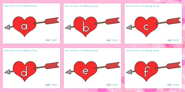 Valentine's Day Hearts and Arrows Lowercase Matching Activity