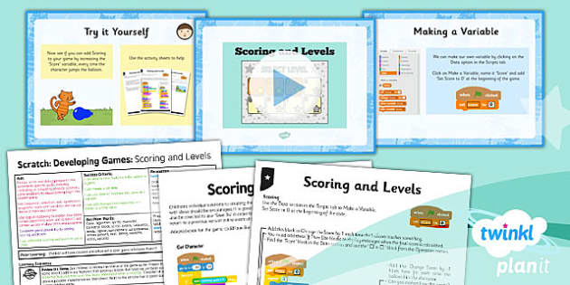 PlanIt - Computing Year 5 - Scratch Lesson 6: Scoring and Levels Lesson Pack