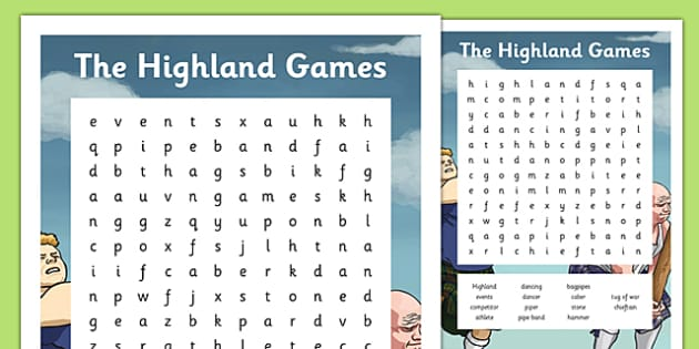 Highland Games Word Search - CfE, Highland, Scotland, games, sports, heritage, culture