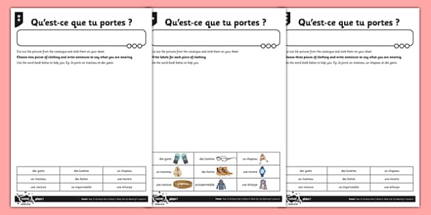 French Activity Sheet Clothes 2 - french, activity sheet, clothes, worksheet