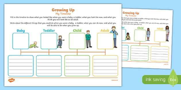 Growing Up: My Timeline Activity Sheet Pack, worksheet