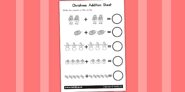 Christmas Addition Sheet - australia, christmas, addition, sheet