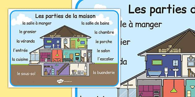 Les parties de la maison Word Mat French - french, house, word mat, parts, homes, mat