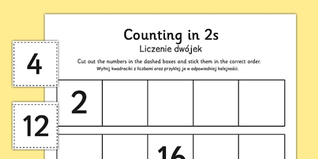 Counting in 2s Cut and Stick Activity Sheet Polish Translation - polish, counting, count, cut and stick, activity, 2s, worksheet