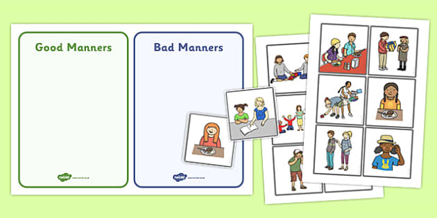 Good Manners Sorting and Discussion Cards - good manners, sorting, discussion, cards