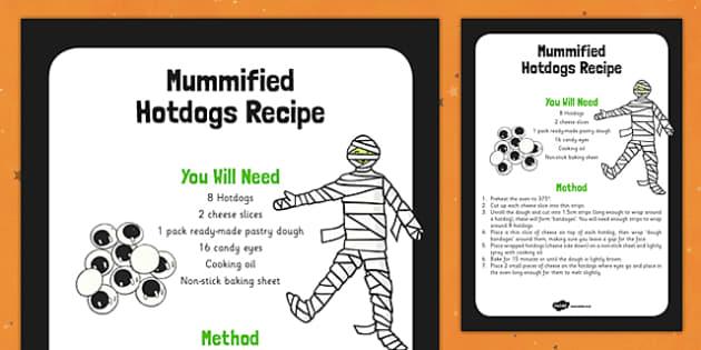 Mummified Hotdogs Recipe -food, instructions, halloween, KS1, KS2