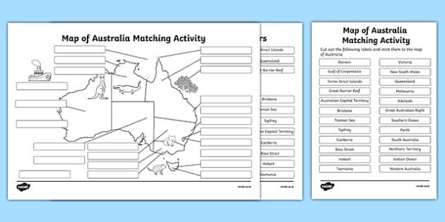 Map of Australia Matching Activity - australia, map of australia, matching activity, match, activity