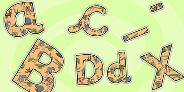 Themed A4 Display Lettering to Support Teaching on The Enormous Crocodile - the enormous crocodile, themed lettering, A4, letters for display, display lettering, display, letters