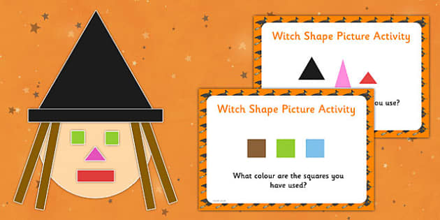 Witch Shape Picture Busy Bag Prompt Card and Resource Pack - witch, shape, picture, activity, prompt cards, pack