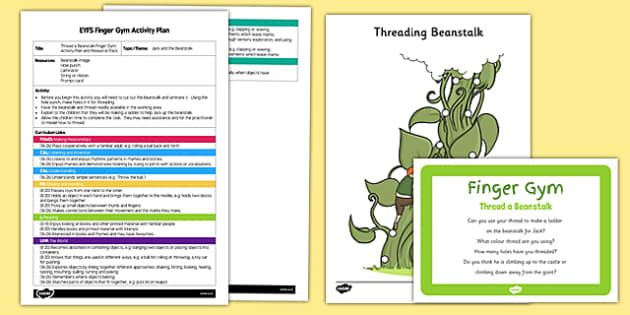 EYFS Thread a Beanstalk Finger Gym Plan and Resource Pack - Jack, giant, Jack and the Beanstalk