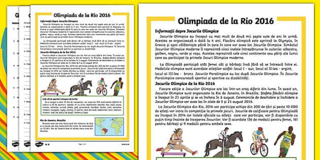 Olimpiada de la Rio 2016 - Fișă diferențiată de comprehensiune a textului