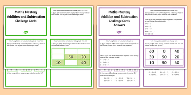 Year 2 Maths Mastery Add and Subtract Numbers Challenge Cards - year 2, maths mastery, add and subtract, numbers, challenge cards