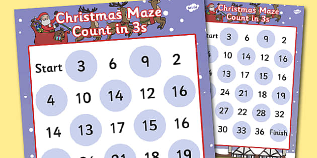 Christmas Counting in 3s Maze Activity - christmas, counting