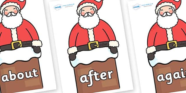 KS1 Keywords on Santa in Chimney - KS1, CLL, Communication language and literacy, Display, Key words, high frequency words, foundation stage literacy, DfES Letters and Sounds, Letters and Sounds, spelling