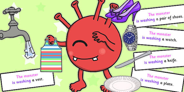 Monster Washing Sentence Activity - sentence, washing, monster