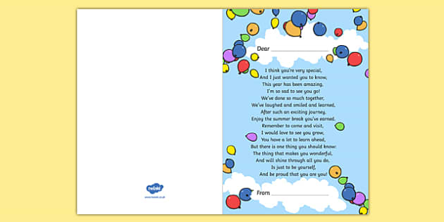 End of Year Poem Card - end of year, gift, poem, cards, transition