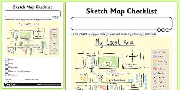 Sketch Map Checklist Activity Sheet - sketch map, checklist, activity, sketchy, map, geography, worksheet