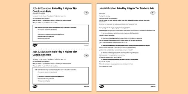 Trabajo & Educación 1 Juego de rol Higher Tier - Work, Education, Speaking, Higher, Educación, Trabajo, Role-play, Juego de rol
